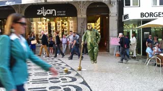 Levitating Human Statue in Lisbon, Portugal - Video