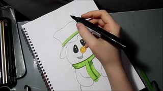 Speed drawing: Snowman - Video