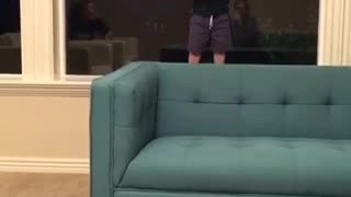 Toddler in black shirt falls over blue couch  - Video