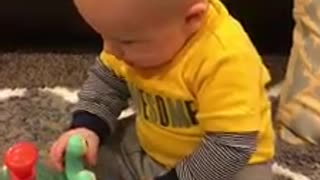 Adorable Baby Boy Is Disappointed Because Toy Is Not Edible - Video