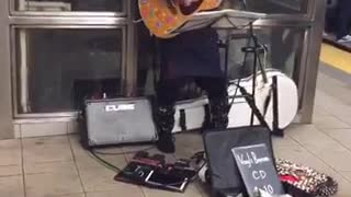 Basket head guy plays weird song on subway okey doke - Video