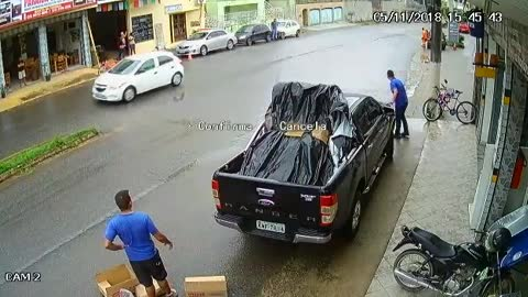 Car Loses Control and Almost Hits Worker