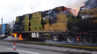 Burning hay truck along I-84 - Video