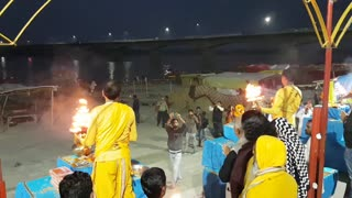 Aarti at Saryu River in Ayodhya, India on February 21, 2020