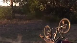 Man in red bike falls on dirt trail - Video