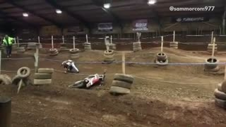 Collab copyright protection - bmx rider flies off bike indoor trac - Video