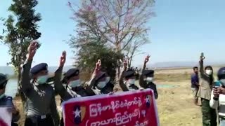 Police protest against Myanmar military coup