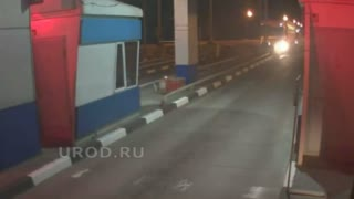 Moment Sleeping Lorry Driver Crashes Into Toll Booth