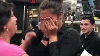 Coworkers Surprises Restaurant Employee - Video