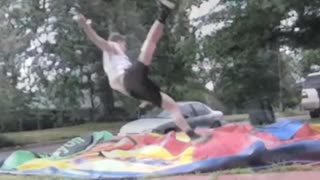 Music black shorts tries to jump over slide on glass - Video