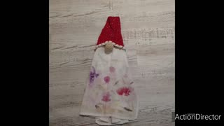 Crochet gnome towel topper/ hand dyed yarn
