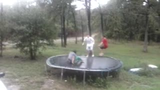 Kids Break Trampoline When Jumping In Rain