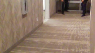 Guy black shirt running in hallway and falling - Video