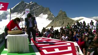 Chinese star G.E.M.performs on the famous Jungfraujoch glacier