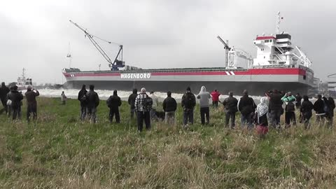 Ship Launching Goes Wrong And Makes Spectators Run For Dry Land
