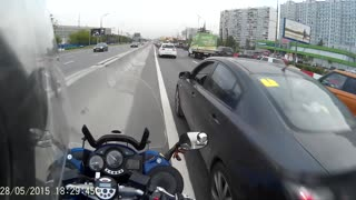 Motorcycle Accident While Driving Illegally Down the Median - Video