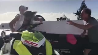 Three girls pretend to be riding jetski fake prank