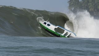 Boat Gets Sucked in by Massive Wave