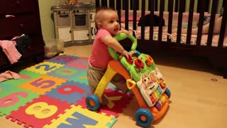 Baby Exploring Walker - Will she take some steps?  - Video