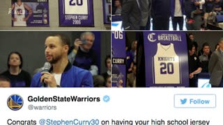 WATCH: Riley Curry Gets Into DAB BATTLE with Fan at Dad Steph's Jersey Retirement - Video