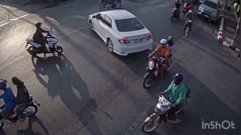 Car Hits Scooter- It's Like They Came Out Of Nowhere