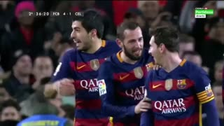 Increible Penal de Messi, pase gol a Luis Suarez - Video