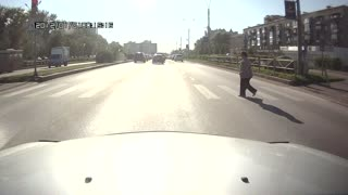 Motorcycle Hits Pedestrian