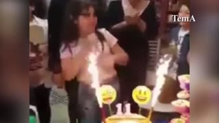 Birthday Girl Catches Fire
