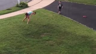 Little boy attempts cartwheels, fails miserably
