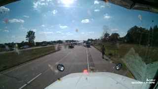 Semi Truck Barrels Across the Median - Video