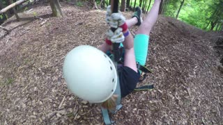 Kid Screaming Her Head off on a Zipline  - Video