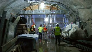 Up close view of construction on a new subway line - Video