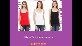 Womens White Colour Spaghetti Tops - Video