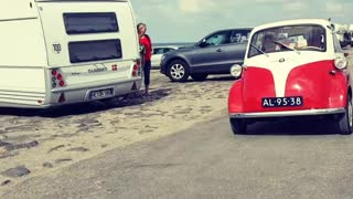 Old Car Rolling At The Beach  - Video