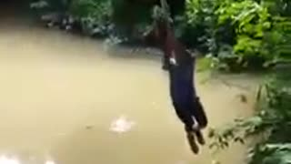 Collab copyright protection - two guys rope swing fall into water - Video