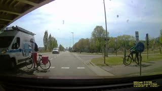 Cyclists Fail to Give Way While Crossing Road