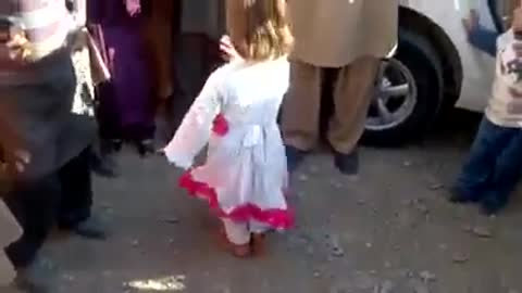 Beautiful little girl dancing in peshawar