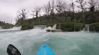 Kayaker Gets Lodged in Waterfall