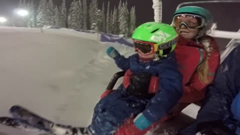 2-year-old shows of his skiing skills