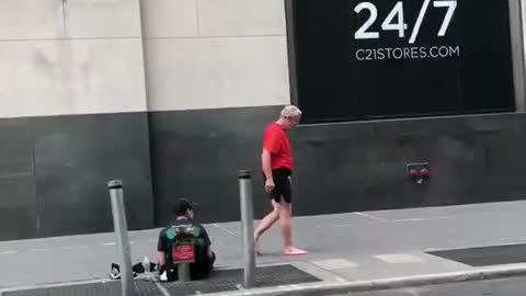 Man Gives His Shoes To Homeless