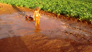 Kid Has Some 'Old Fashioned Fun' In A Muddy Puddle - Video