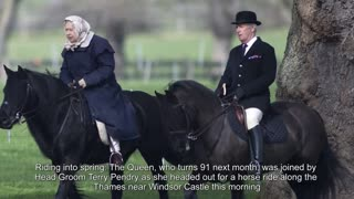 Queen Elizabeth II Rides A Horse At Age 90 - Video