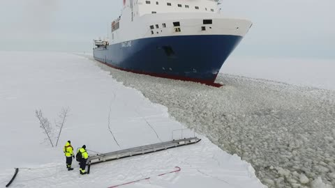 Experienced Pilot Boards Onto A Moving Ship With Ease