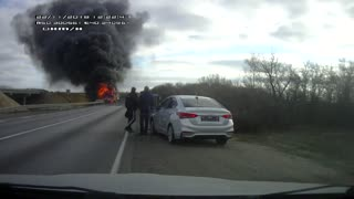 Semi Truck Bursts into Flames After Collision
