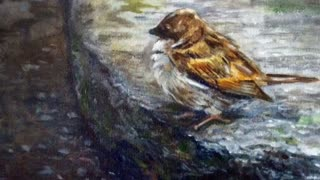 New Impressionist Oil Bird Painting Landscape Artwork By Hilary J England