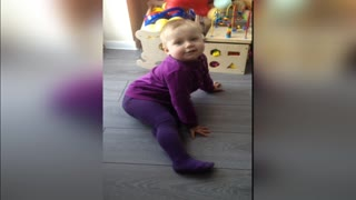 Adorable baby imitating zoo animals