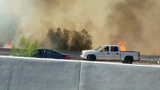 Large Brush Fire in San Diego - Video