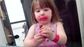 Little Girl Denies Eating Lipstick