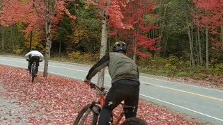 Extreme cyclist skids to an epic fall in beautiful fall scenery