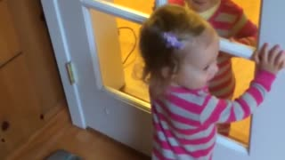 Twin babies giggle at each other through glass doors